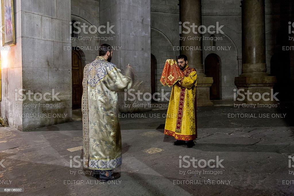Armenian mass in Holy Sepulchre Church stock photo