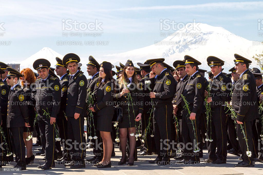 Armenian military and the two peaks of the Mt Ararat stock photo