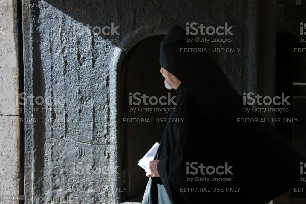 Armenian Orthodox priest at Cathedral of St. James, Jerusalem stock photo