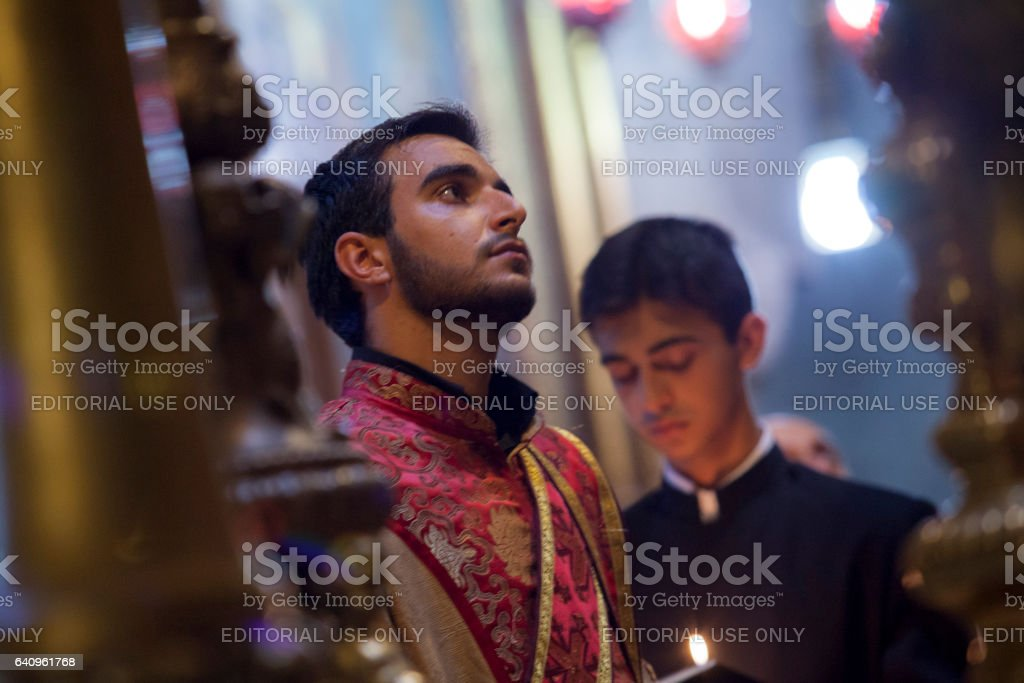 Armenian priests in Holy Sepulchre stock photo