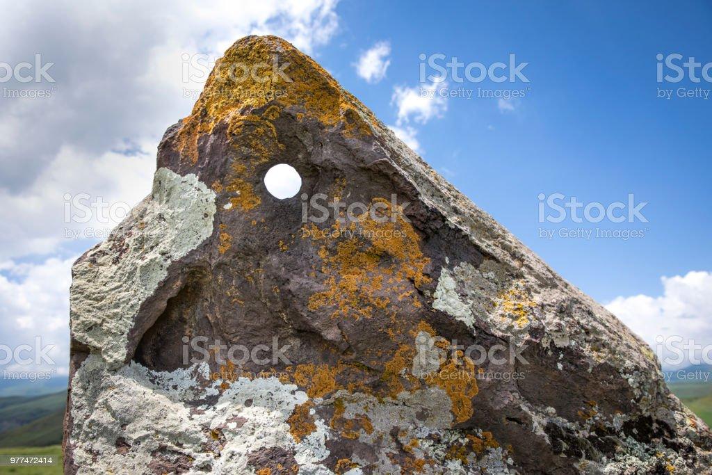 Armenian Stonehenge site called Karahunj stock photo