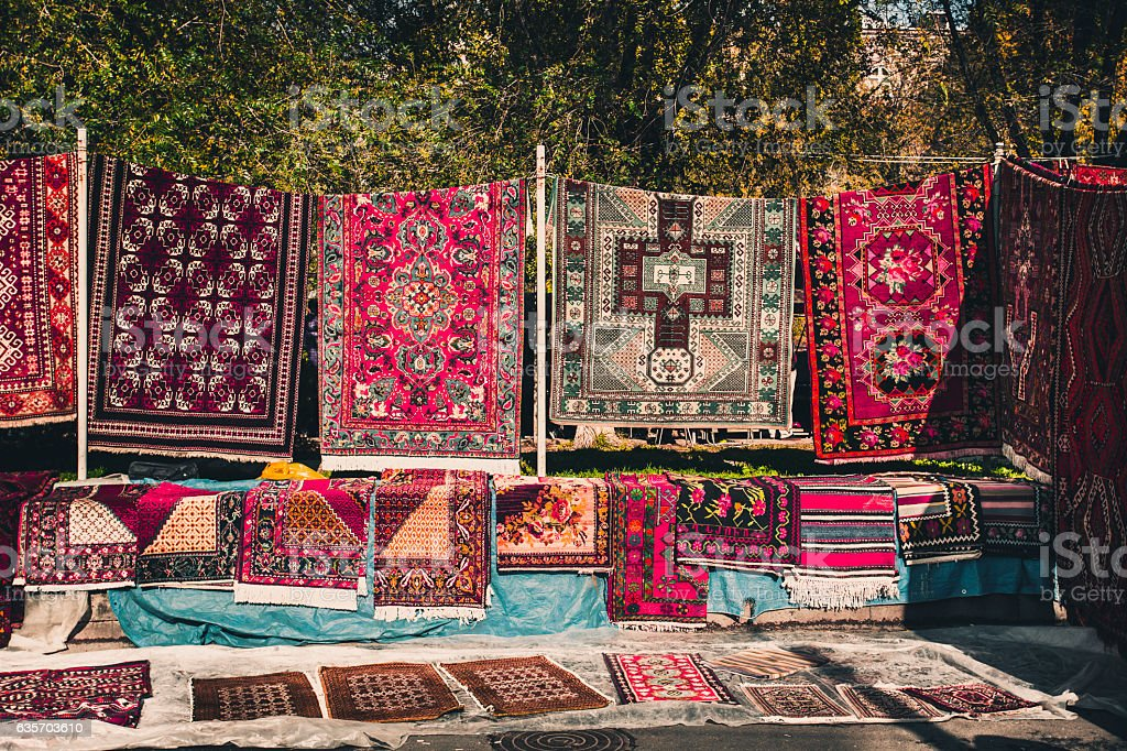 Armenian traditional carpets with traditional ornaments in Yerevan Armenia royalty-free stock photo
