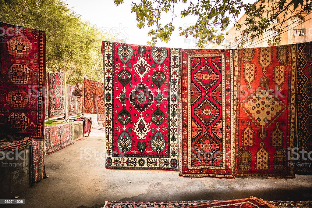 Armenian traditional carpets with traditional ornaments in Yerevan Armenia стоковое фото