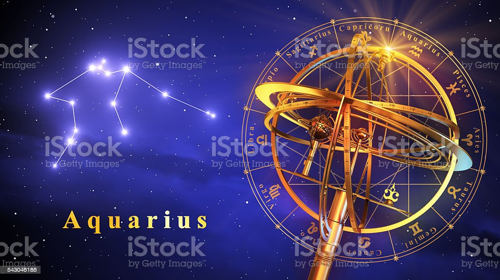 Armillary Sphere And Constellation Aquarius Over Blue Background stock photo