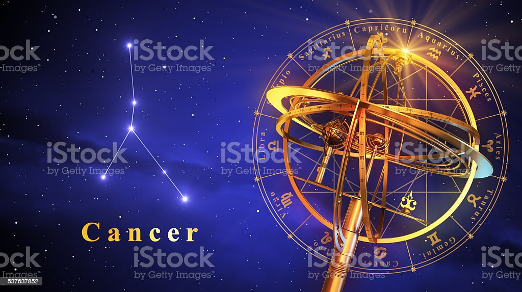 Armillary Sphere And Constellation Cancer Over Blue Background stock photo