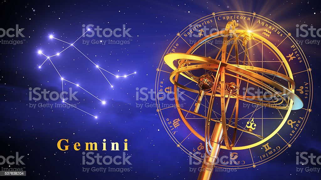 Armillary Sphere And Constellation Gemini Over Blue Background stock photo