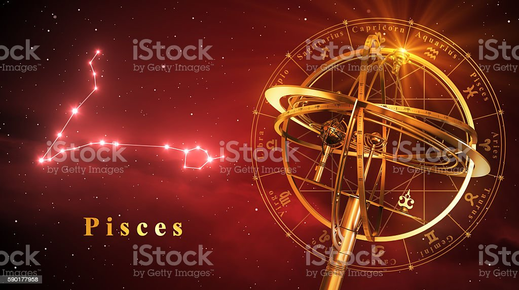 Armillary Sphere And Constellation Pisces Over Red Background stock photo