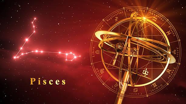 armillary sphere and constellation pisces over red background - boğa hayvan stok fotoğraflar ve resimler