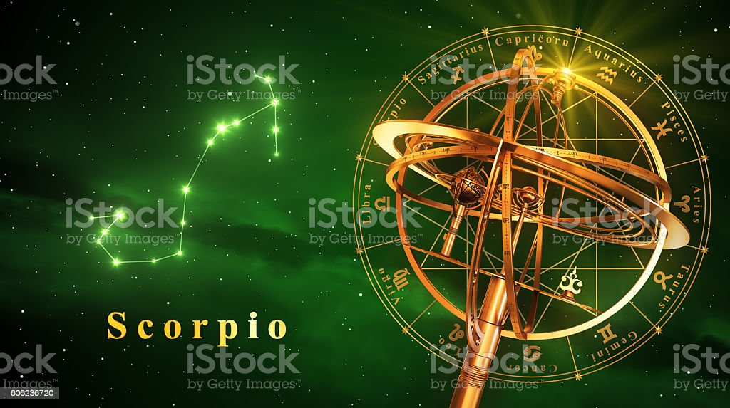 Armillary Sphere And Constellation Scorpio Over Green Background stock photo