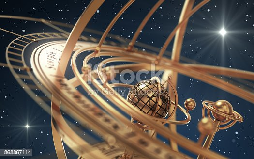 istock Armillary Sphere And Stars On Blue Background 868867114
