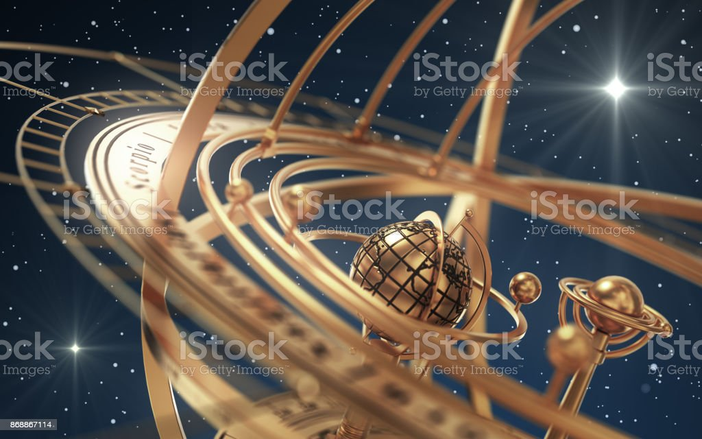 Armillary Sphere And Stars On Blue Background stock photo