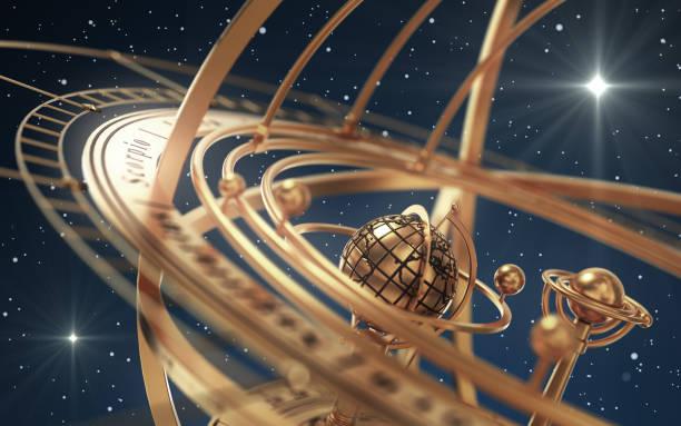 Armillarsphäre und Sterne auf blauem Hintergrund – Foto