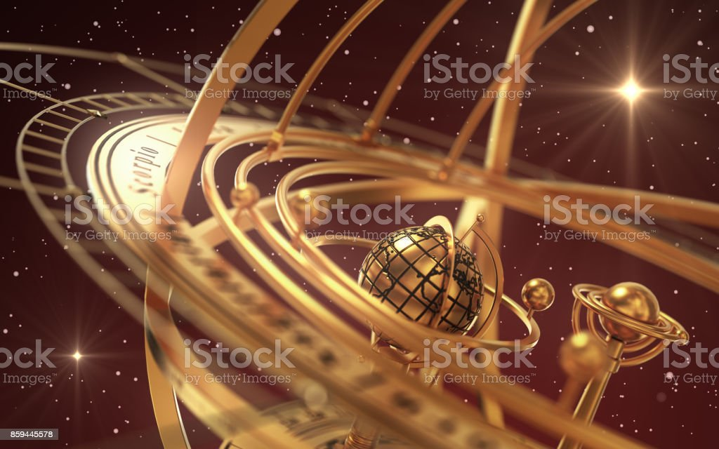 Armillary Sphere And Stars On Red Background. stock photo