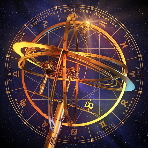 armillary sphere with zodiac symbols over blue background. - boğa hayvan stok fotoğraflar ve resimler