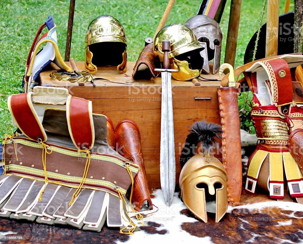 armor and helmets of ancient Roman origin stock photo