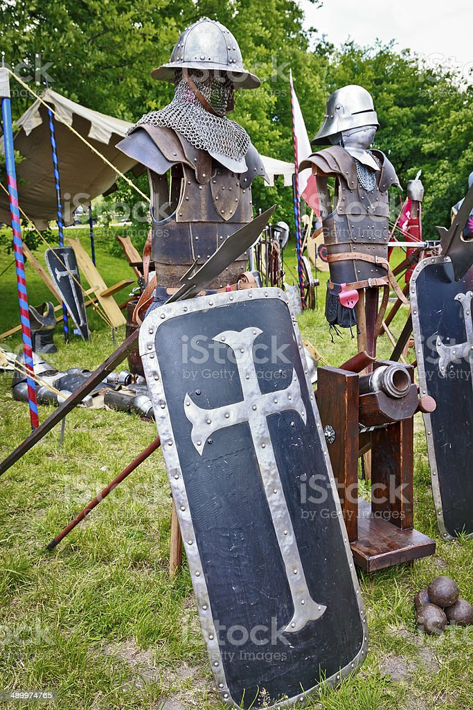 Armor and weapons of the medieval knight stock photo
