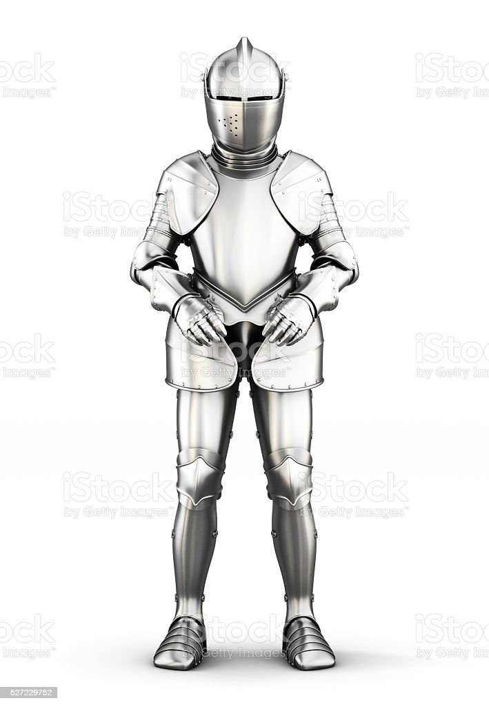 Armor front view isolated on white background. 3d rendering stock photo
