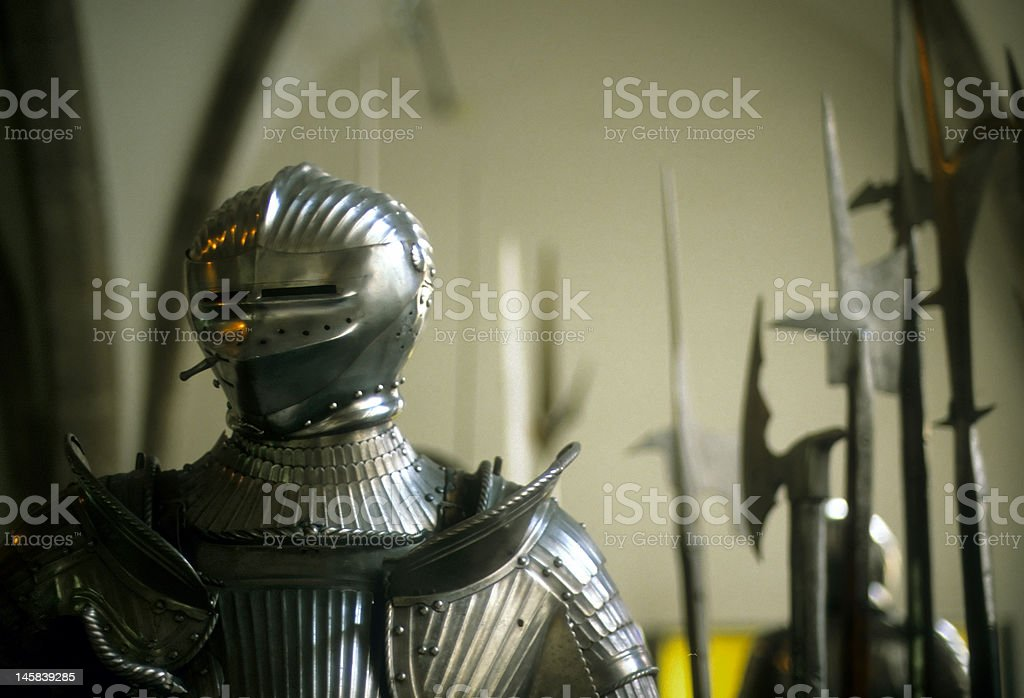 Armor of medieval knights stock photo
