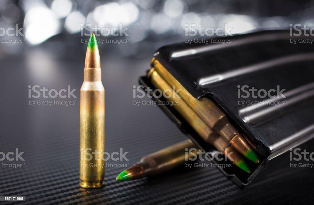 Armor piercing ammo and magazine stock photo