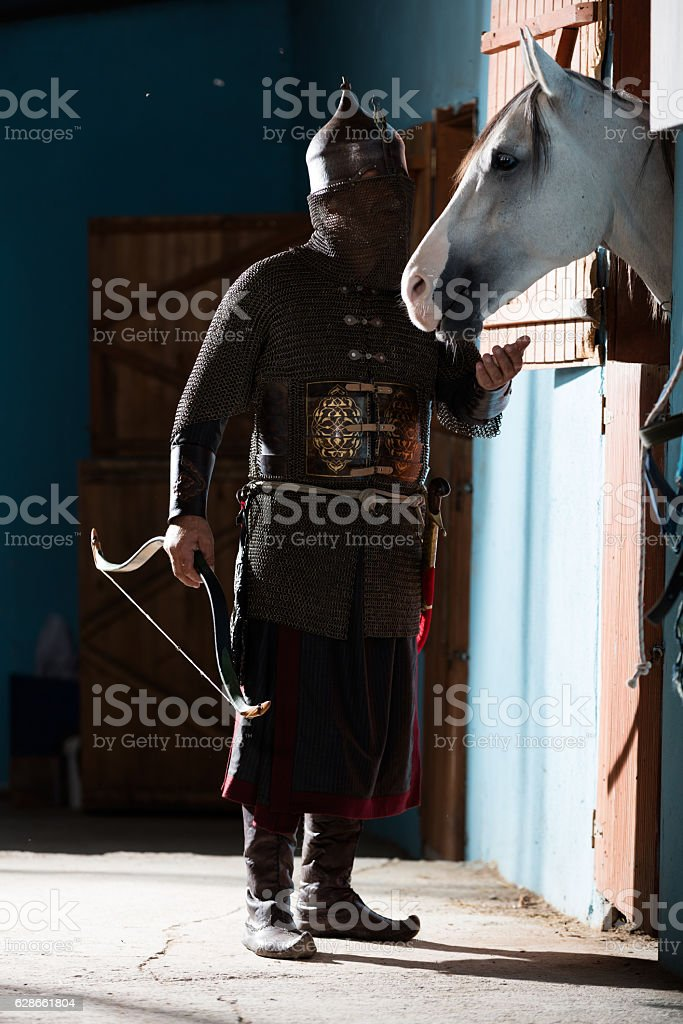Armored Eastern Warrior stock photo