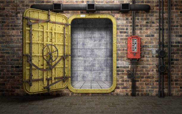 Armored heavy metal door in old underground bunker room. 3d rendering Armored heavy metal door in old underground bunker room. 3d rendering bomb shelter stock pictures, royalty-free photos & images