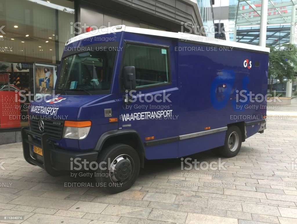 Armored money truck G4S stock photo