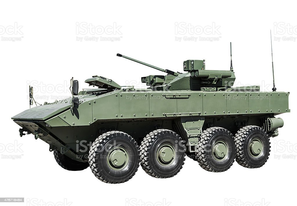 armored personnel carrier on a unified platform battle isolated stock photo