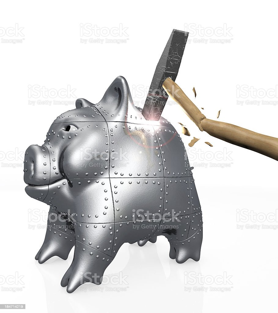 armored piggy bank resists to a hit of hammer stock photo