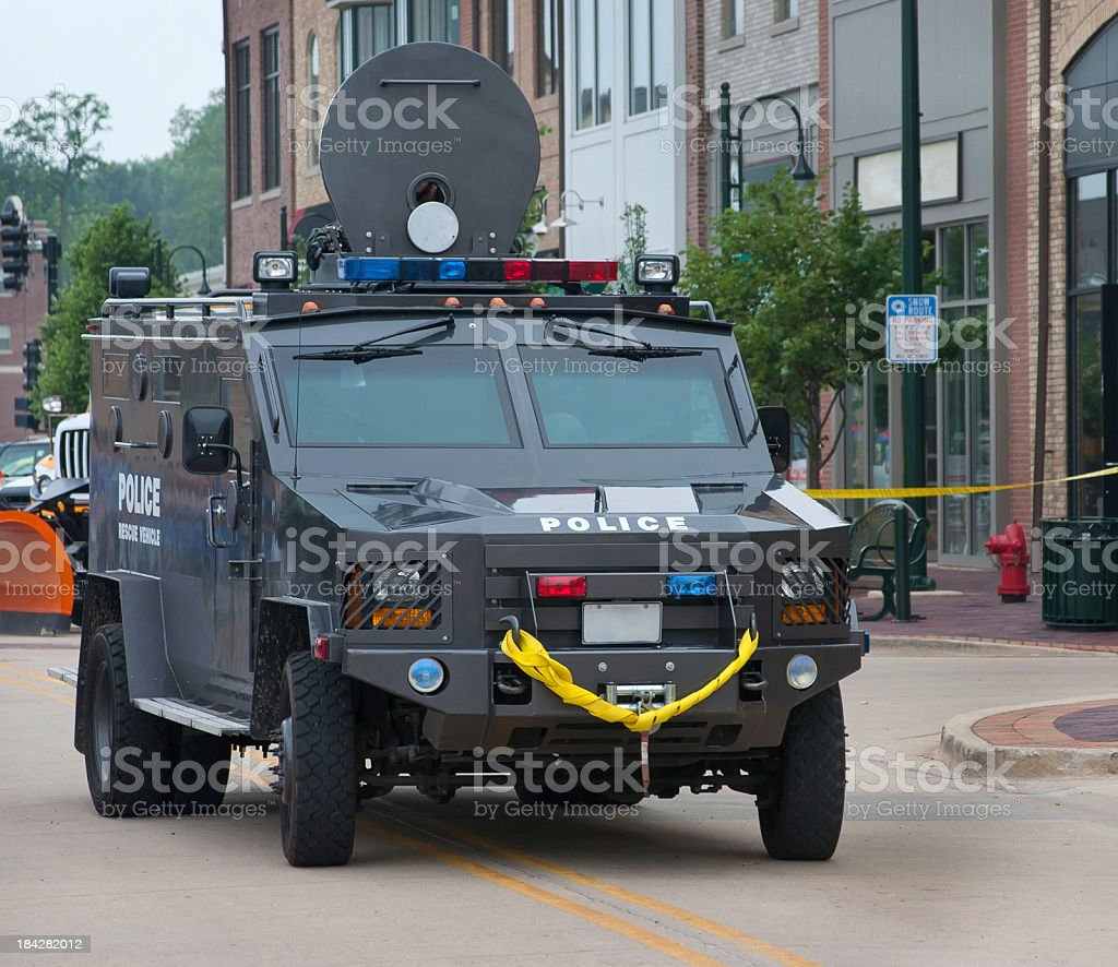 armored police swat team car stock photo