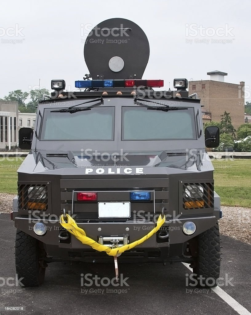 armored police swat team vehicle stock photo