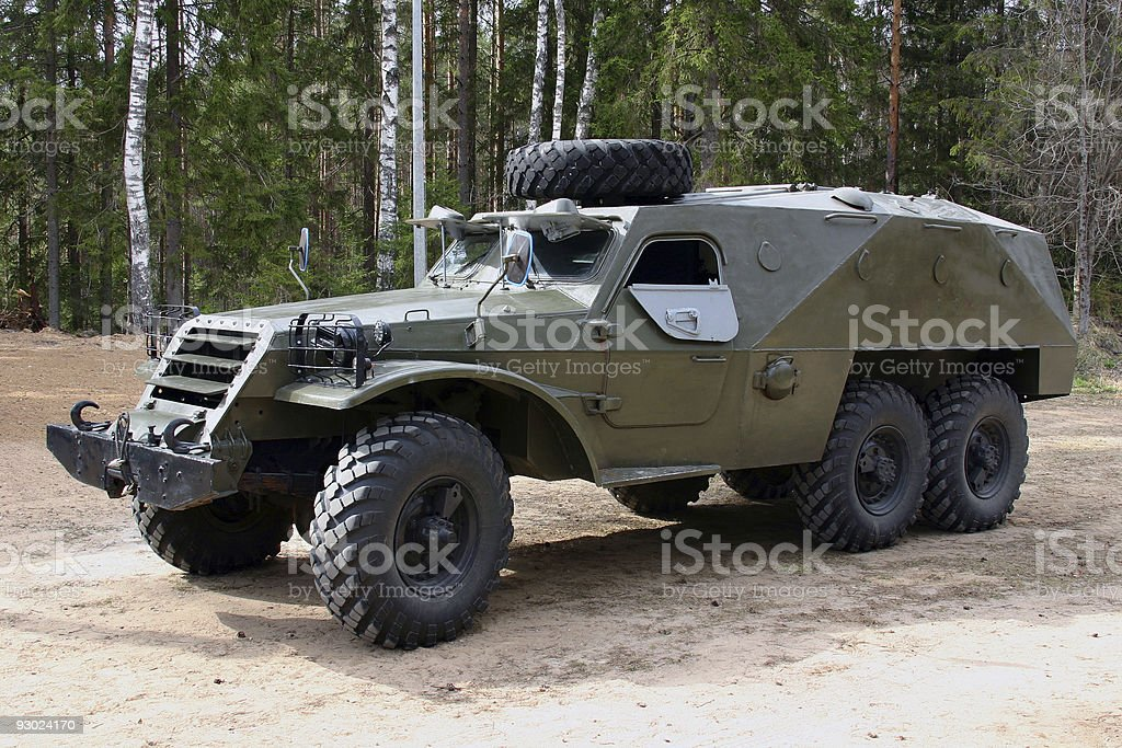 Armored russian truck in a forest. stock photo