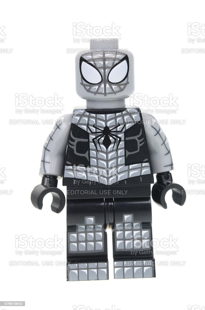 Armored Spiderman Lego Minifigure stock photo