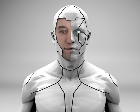 Man dressed in robotic armor is looking at the camera. In the near future, we will see super strong people with robot armor for use in the military and security forces.