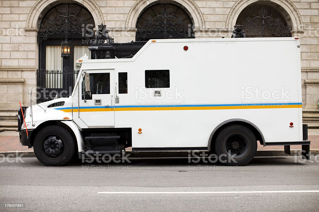 Armored Truck at Bank stock photo