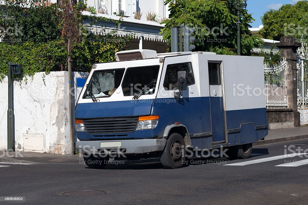 Armored truck money stock photo