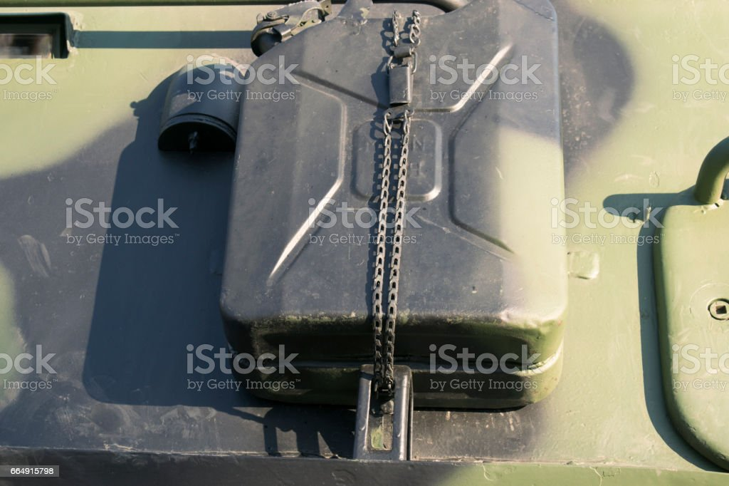 Armored Vehicle Gas Canister stock photo