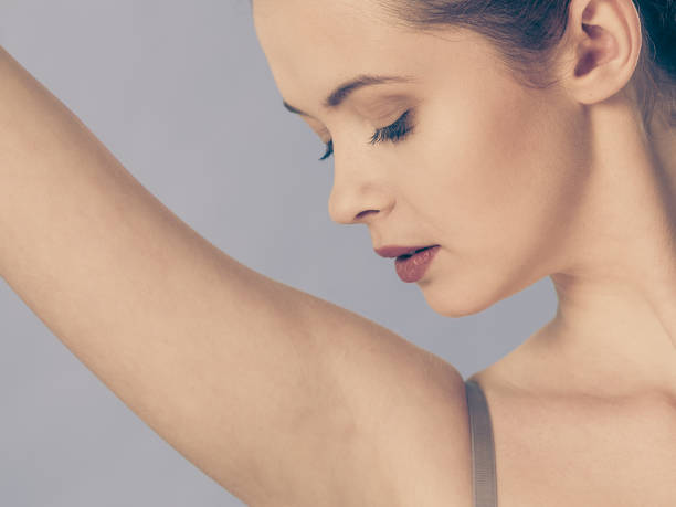 armpit care woman with perfect skin stock photo
