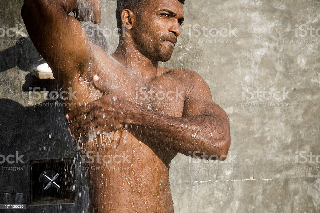 armpit in the shower stock photo