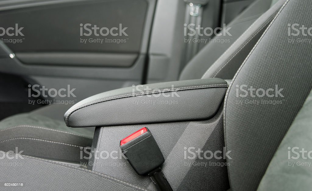 armrest in the car stock photo
