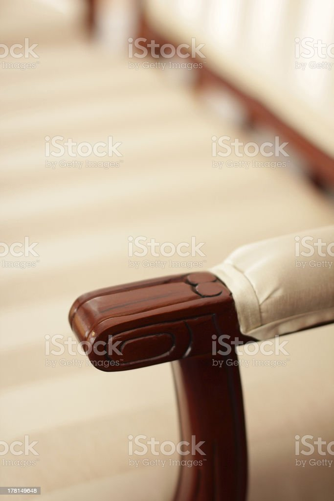 Armrest, part of antique furniture stock photo