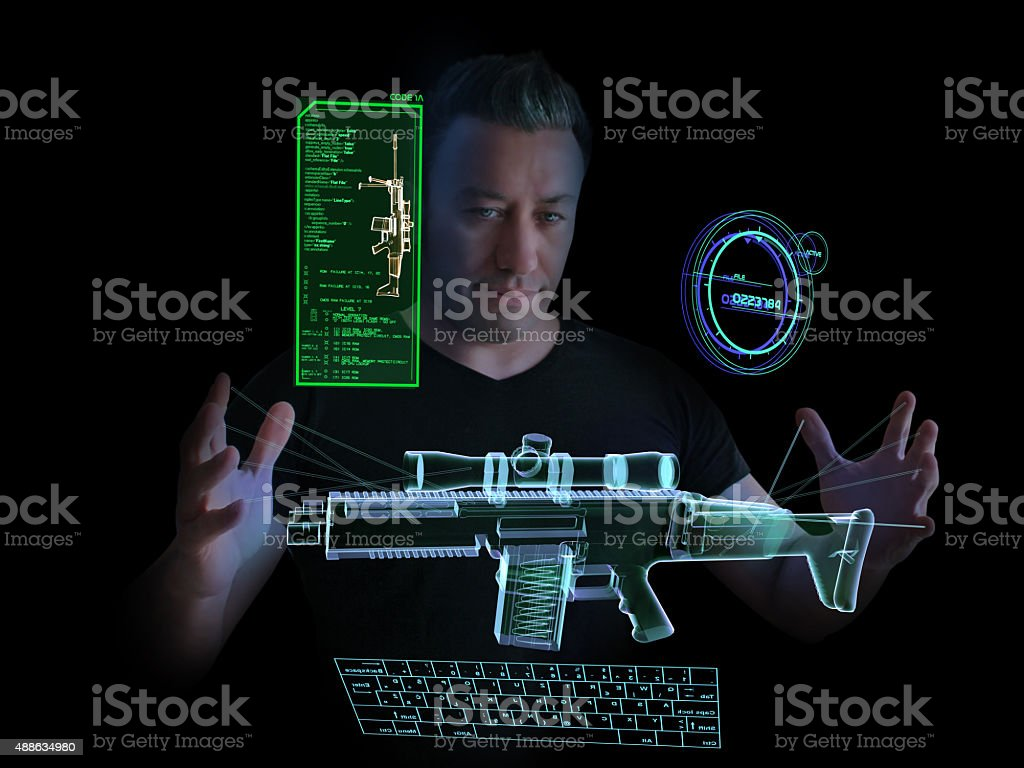 Arms Dealer and Virtual Weapon Market stock photo