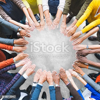 istock Arms Hands Circle Team Unity Variation Group Diverse Concept 618513942