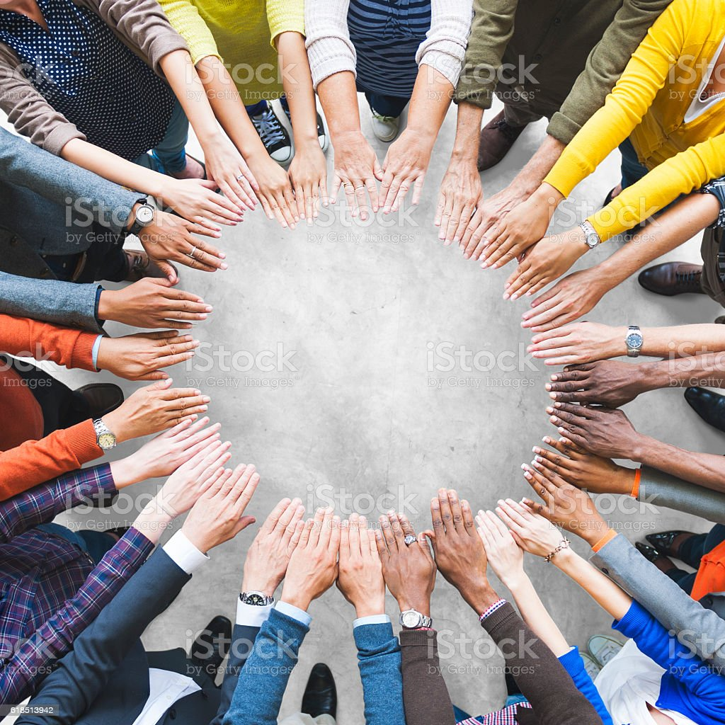 Arms Hands Circle Team Unity Variation Group Diverse Concept stock photo