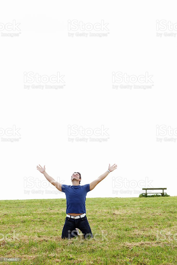 Arms raised in victory! royalty-free stock photo