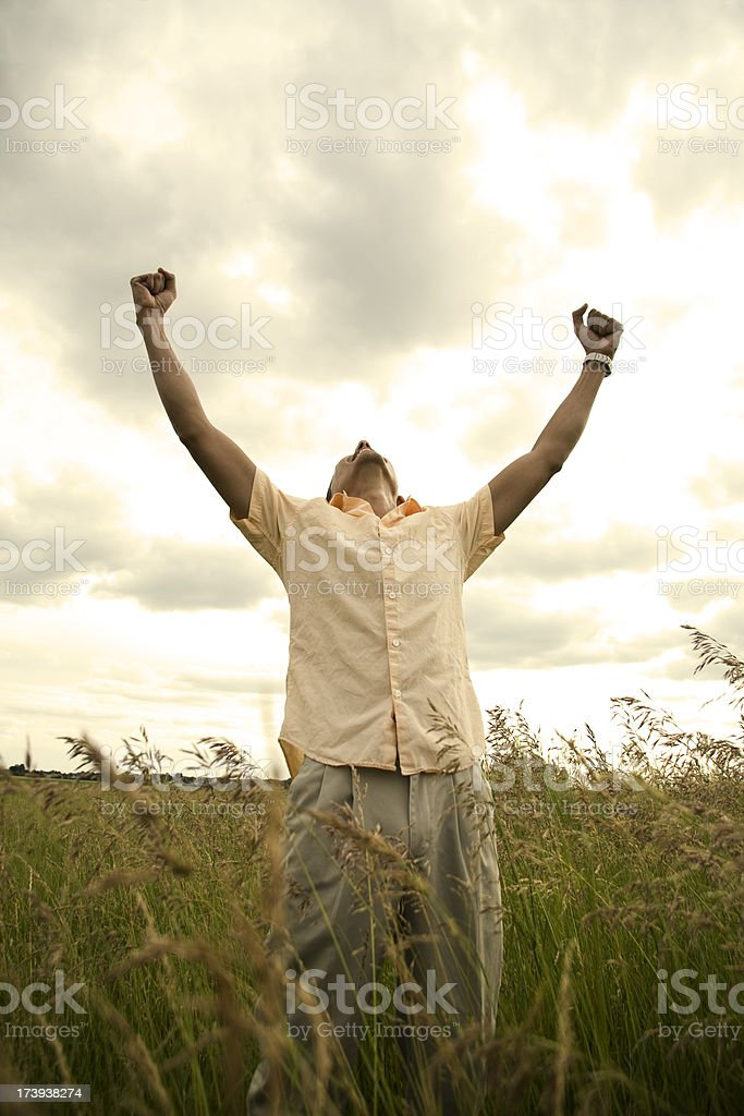 Arms raised royalty-free stock photo