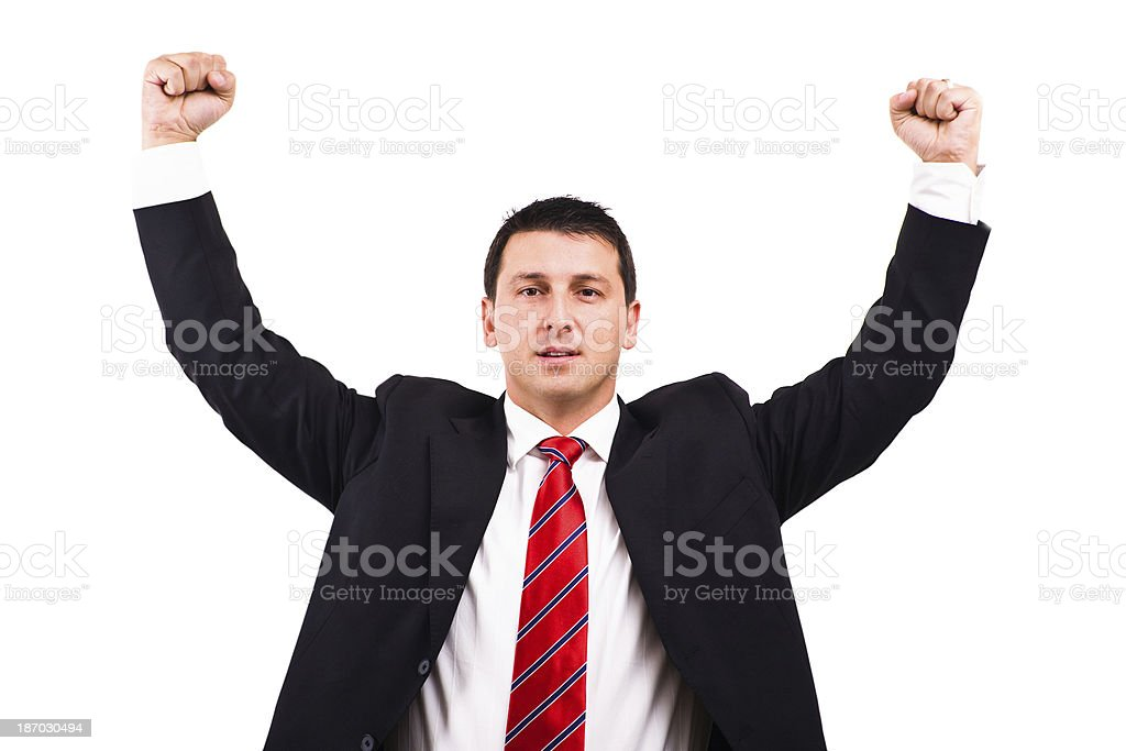 Arms up businessman royalty-free stock photo