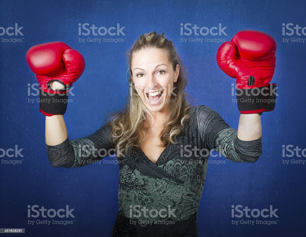 arms up for a boxing winner stock photo