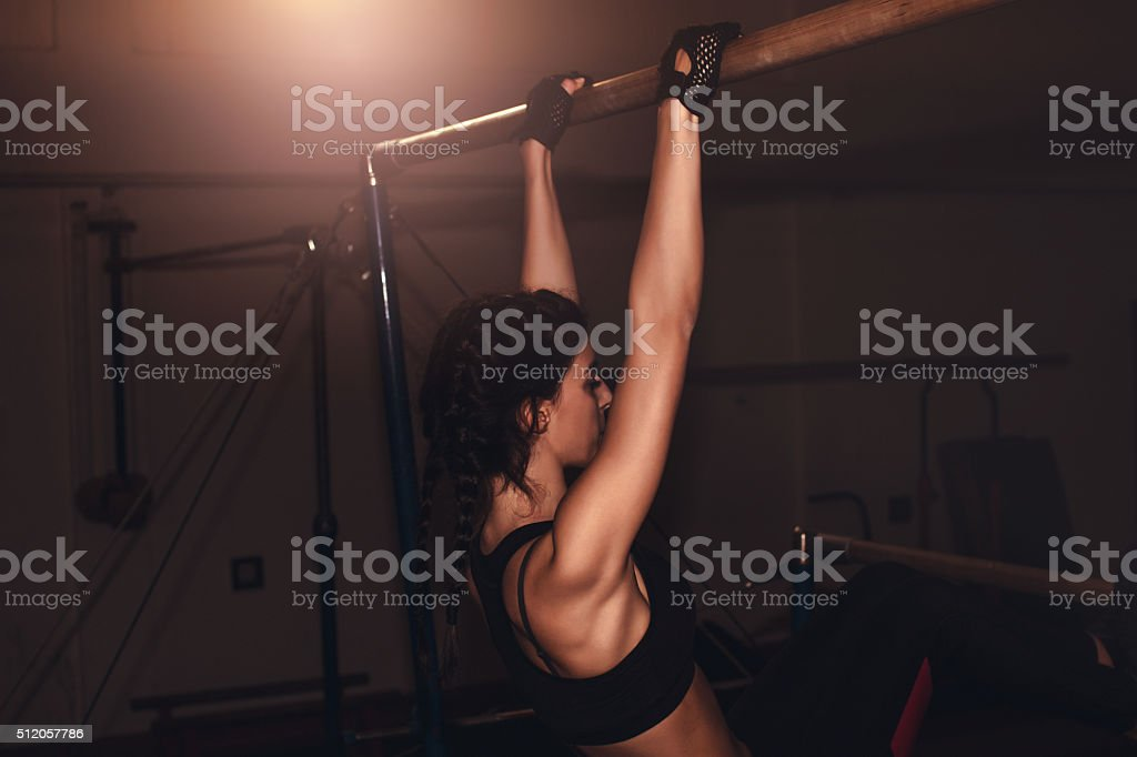 Arms workout for girls stock photo