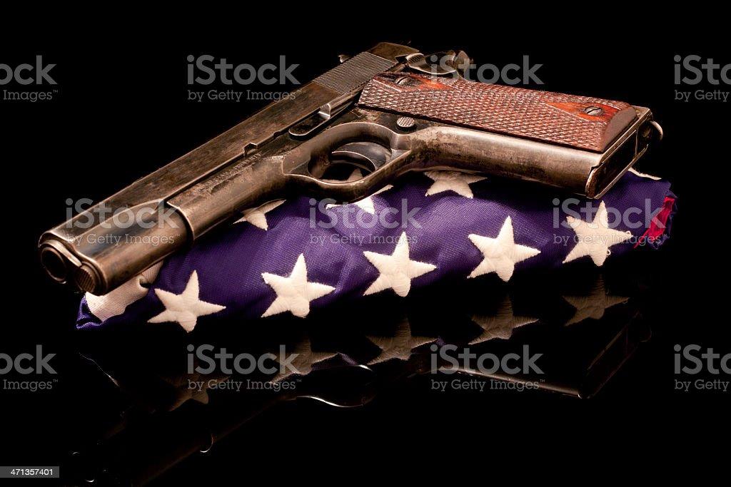 Army 1911 on a Folded US Flag stock photo