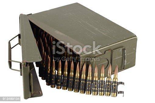 907208642 istock photo US Army Ammo Box with ammunition belt and bayonet 913489134